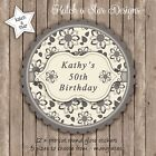 FLORAL GREYS 30TH 40TH 50TH 60TH PERSONALISED SCALLOP CIRCLE GLOSS STICKERS x12