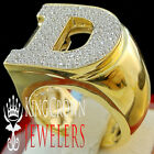 Mens Big Bold 10K Yellow Gold On Real Silver Initial Letter D Simu Diamond Ring