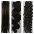 "USPS 15""-36"" Real Soft Weft Human Hair Extensions Straight Wavy #4 Dark Brown"