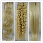 "USPS 15-36"" Weft Human Hair Extensions Straight Curly Wavy Light Blonde #613"
