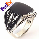 925 Sterling Silver Scorpion Turkish Handmade Onyx Men Luxury Ring All Sizes