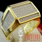 Mens New 925 Sterling Silver Yellow Gold Finish Lab Diamond Pinky Ring Band 7-10