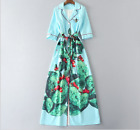 17 Occident autumn High quality cactus printed bead fashionable long dress SMLXL