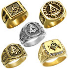 Mens Masonic Ring Stainless Steel Freemason Master Mason Rings Size 8,9,10,11,12