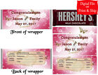 20 Personalized WEDDING Full-Size Hershey Candy Bar Wrapper Favor Pre-Cut w/Foil