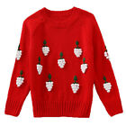 Kids Girls Lovely Grape Ornament Knitwear Crew Neck Pullover Sweater 4-13 Years