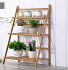 BAMBOO FOLDING 3-TIER LADDER SHELF BOOK PLANT SHELF MULTIPLE USE STRONG ELEGANT
