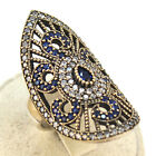 Turkish Hurrem Sultan Jewelry 925 Sterling Silver Sapphire & CZ Lady Dome Ring