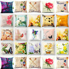 Vintage Flower Cotton Linen Throw Pillow Case Cushion Cover Home Decor 18x18 image