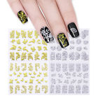 12sheets Metallic Gold Silver 3D Nail Art Stickers Flower Leaf Manicure Decor