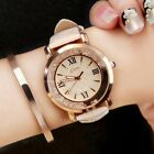 Women's Fashion Watches Stainless Steel Leather Band Analog Quartz Wrist Watch