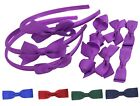 Set Headbands 3 Pairs School Bows Girls Small Hair Accessories Clips Alice Band