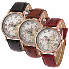 Ladies Vintage Style Leather World Map Adjustable Wrist Watch Globe Travel Gift