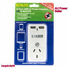 New Korjo Two Port USB &Power Adaptor Plug for Australia NZ and UK(USB2x2UK)