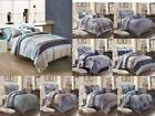 3PC CONTEMPORARY DUVET COVER SET FOR COMFORTER BED STRIPED AND CHECKED COVERLET  image