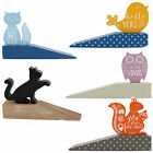 Wooden Door Stops Wedge Designs Cat Owl Or Squirrel Pink Blue Orange Home Gift