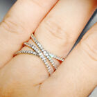 925 Silver Filled White Sapphire Birthstone Engagement Band Adjustable Ring Gift