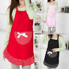 Dotted Pattern Waitress Bowknot Design Kitchen Apron  For Lady Women Teen Girls