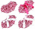 Infant Newborn Baby Hot Pink and White Wavy Stripes Bloomer Pantie & Bow 6m-3Y
