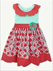 New Counting Daisies Girls Dress Aqua Top Coral Medallion Multi Print Sizes 4 6