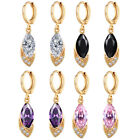 Chic Ladies 18K Gold Filled Marquise Sapphire CZ Lots Hoop Dangle Earrings Party