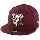 New Era 59Fifty Anaheim Mighty Ducks Fitted Hat (Maroon) Men's NHL Hockey Cap