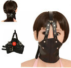 Leather Head Harness Panel Mouth Ball Gag Restraint Face Mask Collar Restraint