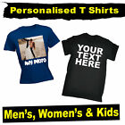 PERSONALISED T-Shirt - CUSTOM TEXT T Shirt tee Plain Shirts lot Mens Womens Kids