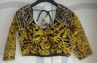 Black and Yellow Embroidary  readymade blouse choli Top Saree Belly Dance