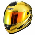 NENKI FULL FACE DOT HELMET NK-852 CHROME GOLD WITH  ANTI FOG IRRIDIUM RED VISOR