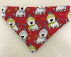 Reversible Snow Dog / Gingham Dog Bandana - Various Sizes, Dog Collar Bandana