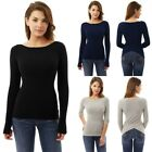 UK Womens Slim Knitted Back V Long Sleeve Ladies Casual Tops T-Shirt Blouse 6-16