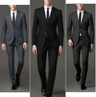 Formal Men's Long Two Button Suits 3 Pieces Suit Vintage Business Wedding Suits