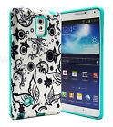 Black and White Flower + Mint Slim Hybrid Cover Case Samsung Galaxy Note 3 N9000