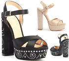 Ladies Womens Block High Heel Platform Stud Ankle Strap Party Sandals Shoes Size