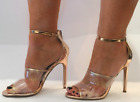 Malone-1 Strappy Lucite Clear Stiletto High Heel Open Toe Sandal Shoe Rose Gold