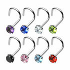 Nose Piercing Stud with Prong Set Round 2mmCZ - 0.8mm or 1mm 316L Surgical Steel