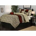 Full Queen Cal King Bed Black Beige Red Scroll Damask 7 pc Comforter Set Bedding