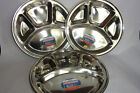 2 x Stainless Steel Deluxe  4 Compartment Food Serving Dish  Thali Dinner Plate