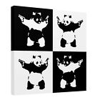 Banksy Pandamonium Harlequin Square Canvas Wall Art Picture Print