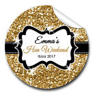 GLOSSY Personalised gold glitter HEN NIGHT PARTY bags labels STICKERS