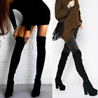NEW WOMENS LADIES OVER THE KNEE BLOCK HEEL LONG WINTER BOOTS SIZE4 5 6 7 8