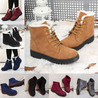 Women's Winter Warm Ankle Snow Boots Flat Lace Up Faux Fur Lined Casual Shoes