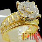 Ladies Solitaire Baguette Cut Real Yellow Gold Silver Bridal Ring Diamond Band
