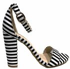 Frenzy-20S Ankle Strap Block Heel Open Toe Canvas Sandal Stripe Black And White