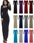 WOMENS LADIES FLARED STRETCH CASUAL BASIC LONG SLEEVE MAXI DRESS PLUS SIZE 8-26