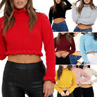 Womens Ruffle Frill Edge Plain Knitted Chunky Crop Jumper Sweater Top