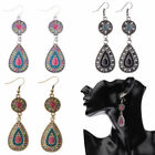 Vintage Bohemian Water Drop Beads Silver Dangle Women Earrings Jewelry Xmas Gift