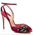 New Paul Andrew Europeaus Red Satin & Embroidery Heel EU Sz 37.5 $1,095