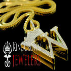 10k Yellow Gold Over Silver King Crown Initial Letter Alphabet Diamond Pendant